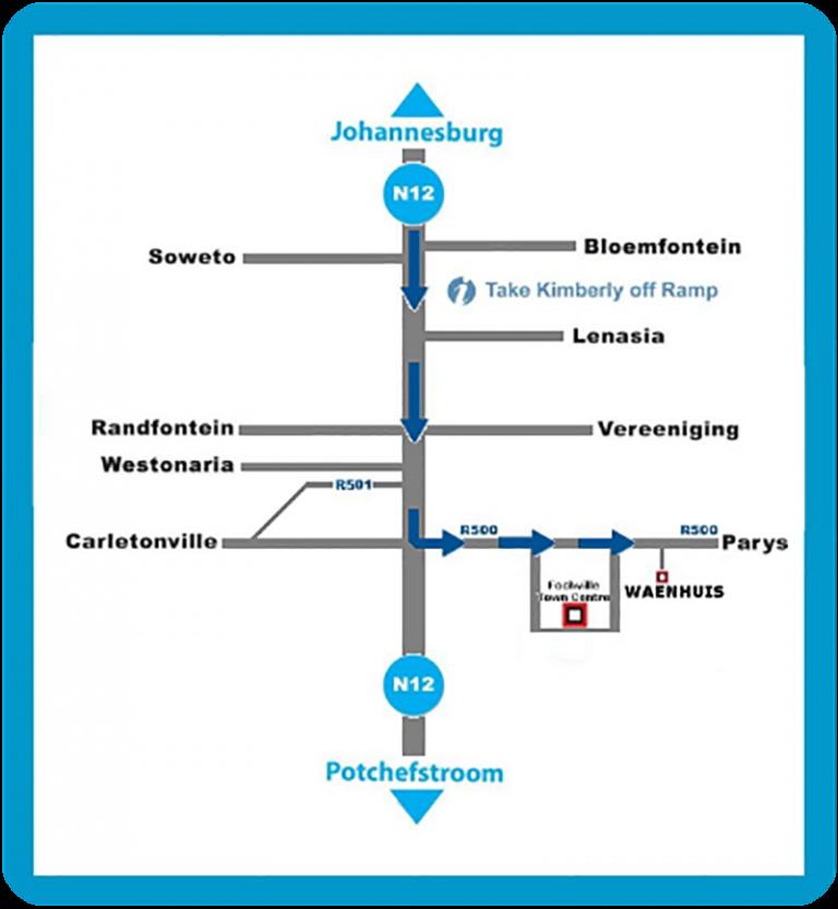 Waenhuis Gastehuis / Guesthouse Fochville Map